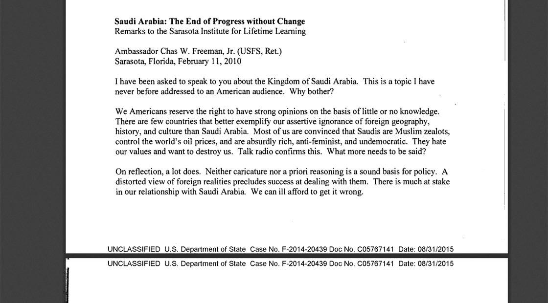 بعد رفع السرية عنها ضمن رسائل كلينتون.. ماذا قال سفير أمريكا الأسبق في السعودية عن المملكة؟
