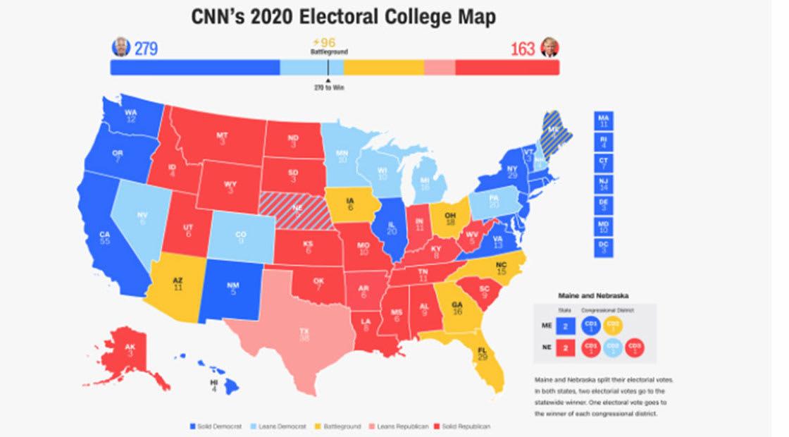 صراع بايدن وترامب في 8 ولايات متأرجحة.. إليكم خارطة CNN لانتخابات 2020