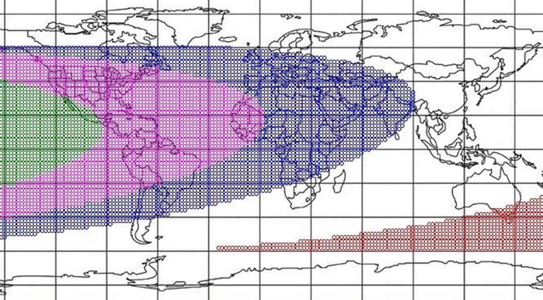 الخارطة تبين مدى إمكانية رؤية الهلال يوم السبت 10 يوليو من جميع مناطق العالم