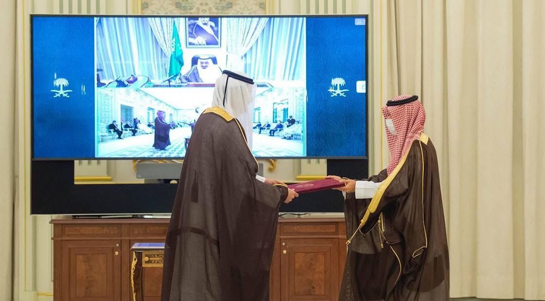 من مراسم تسليم السفير القطري لأوراق اعتماده