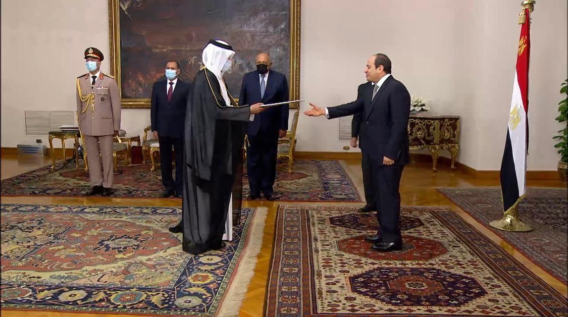 الرئيس المصري يتسلم أوراق اعتماد سفير قطر