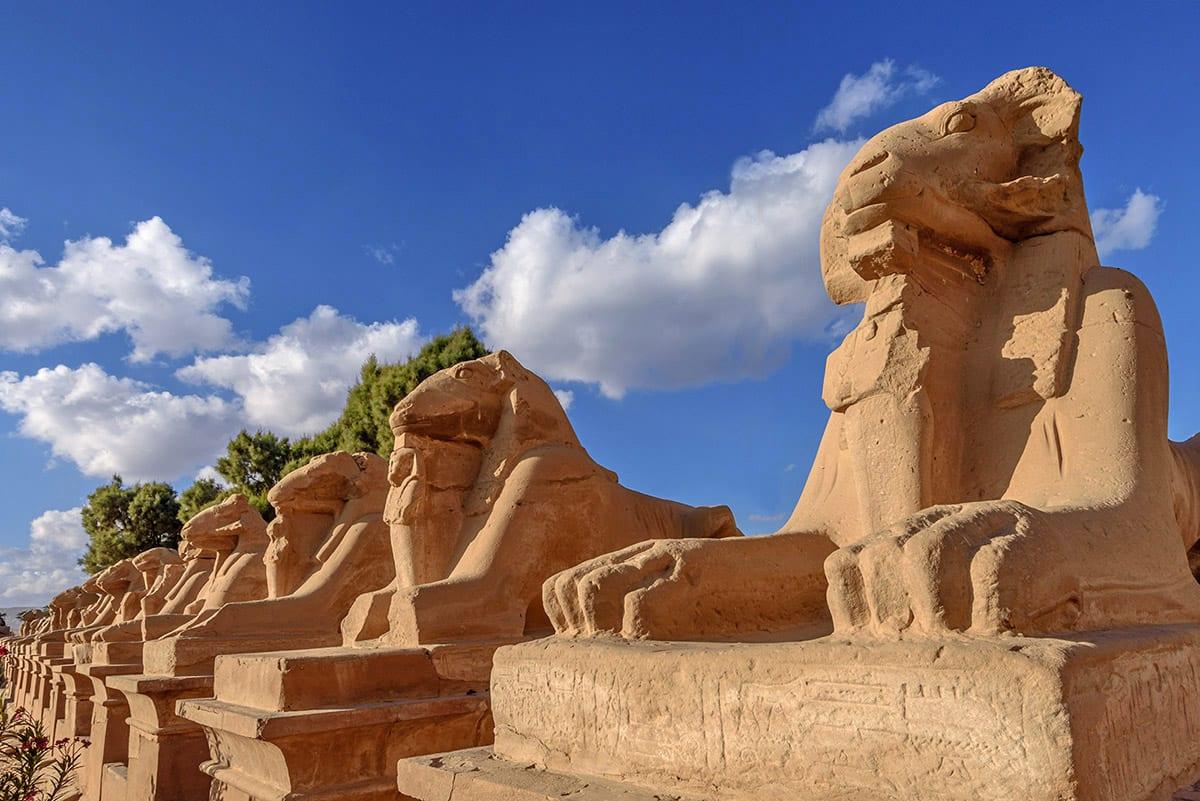 طريق الكباش في معبد الكرنك بالأقصر