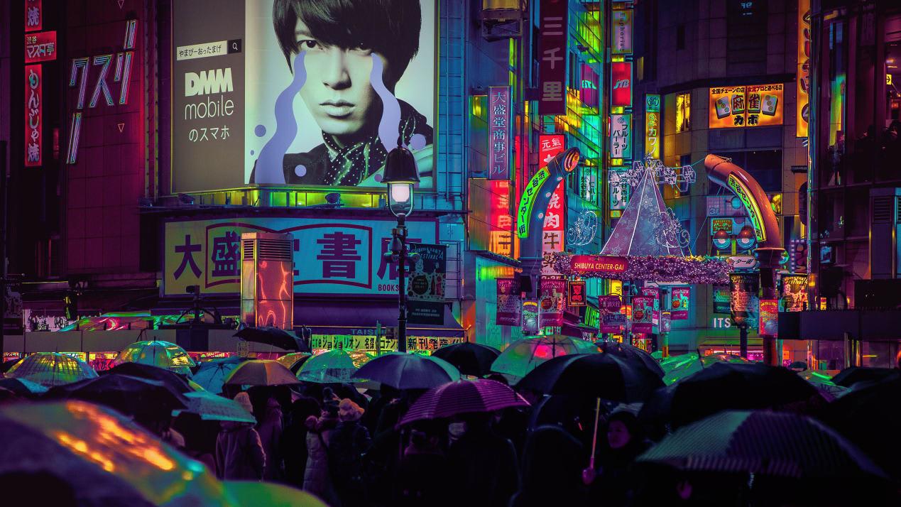 """مصمم ألعاب فيديو يلتقط صوراً """"مشعة"""" لشوارع طوكيو"""