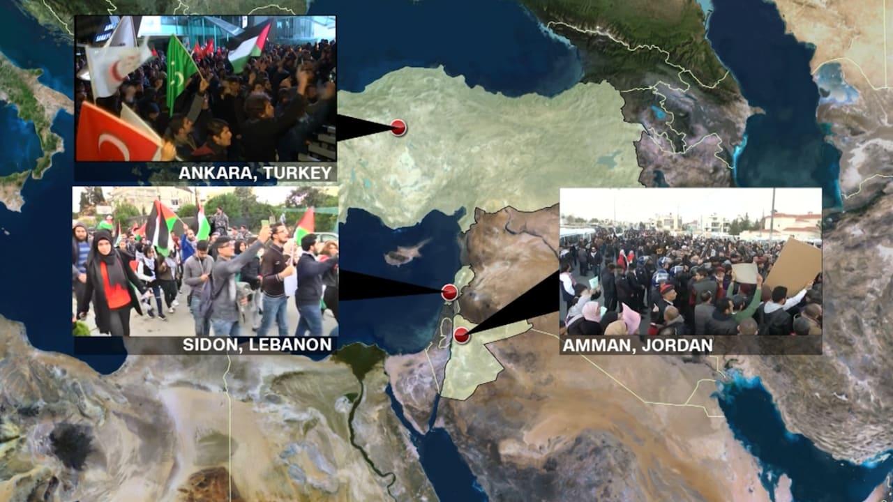 شاهد.. مظاهرات في أنقرة وصيدا وعمّان ضد إعلان القدس عاصمة لإسرائيل