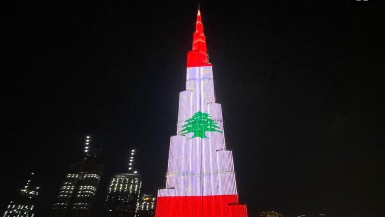 انفجار بيروت.. إضاءة برج خليفة بألوان علم لبنان