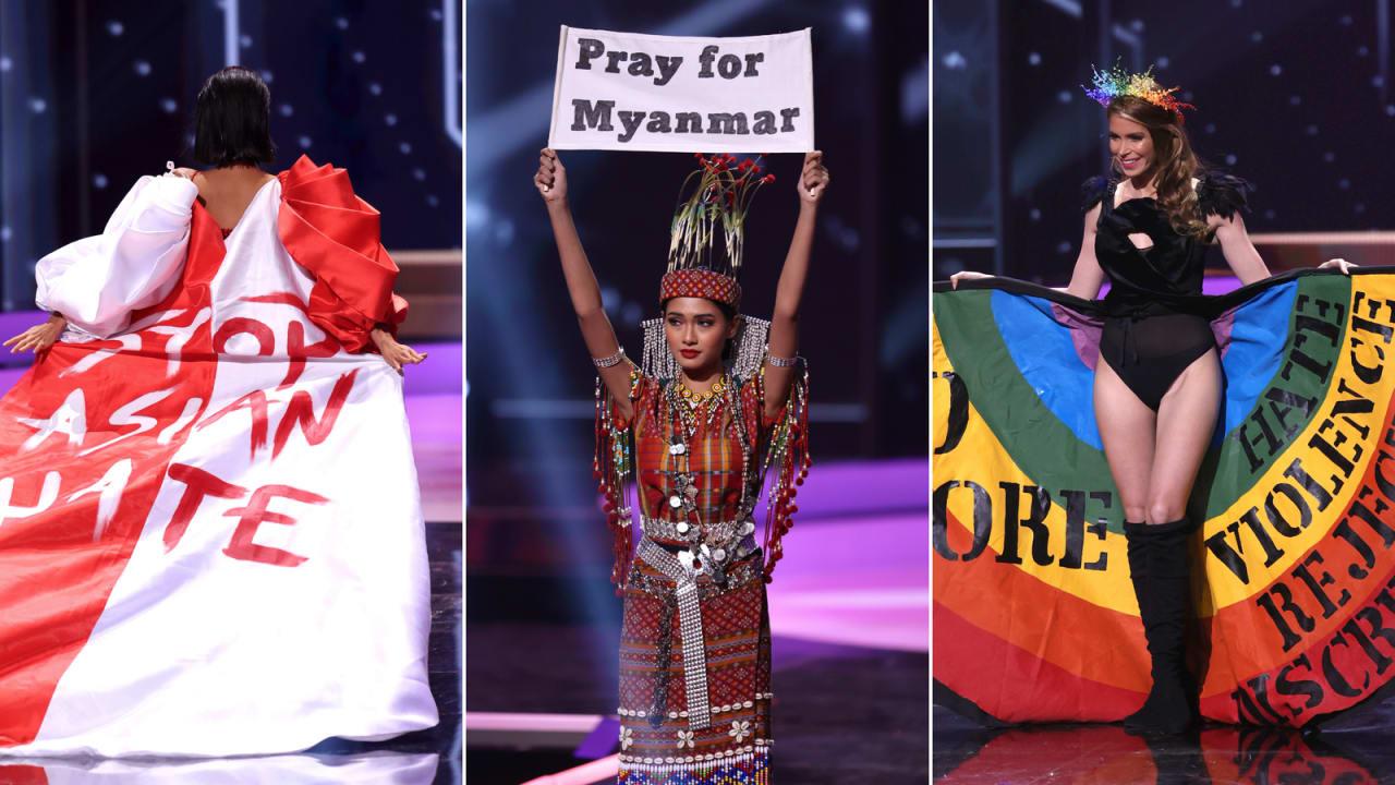 """بالملابس واللافتات..متسابقات """"ملكة جمال الكون"""" تكشفن عن رسائل احتجاج سياسية"""