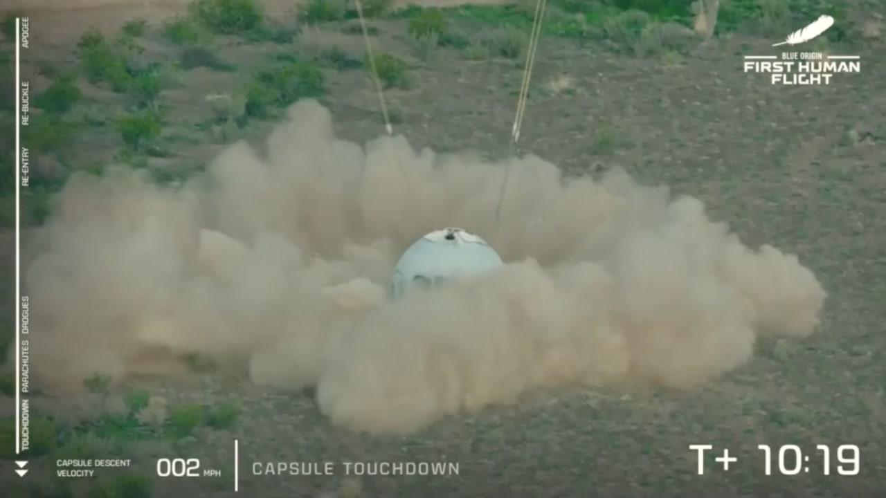 """شاهد لحظة هبوط مركبة """"نيو شيبرد"""" في تكساس بعد رحلة سياحية إلى الفضاء"""