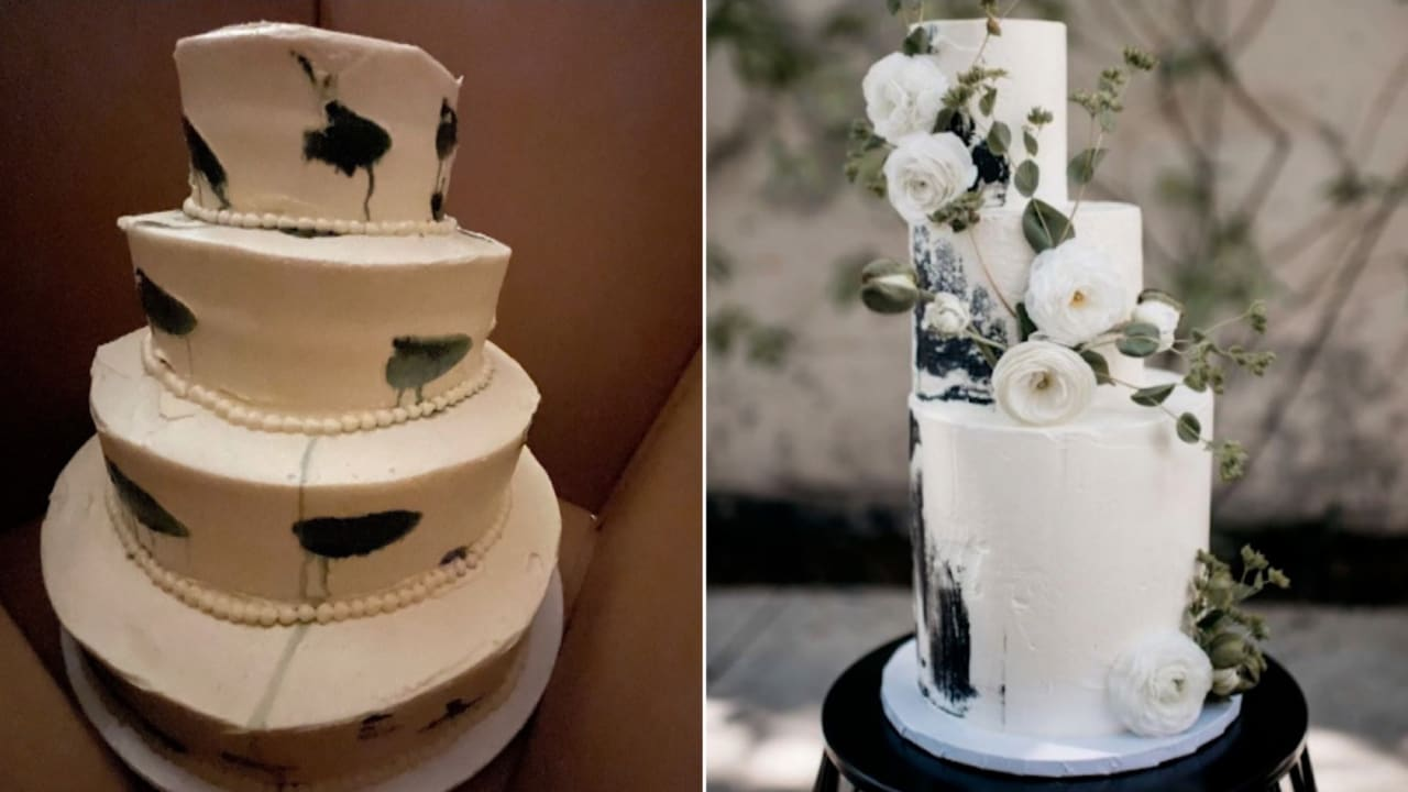 """كعكة زفاف """"باكية"""" تنتشر على مواقع التواصل.. شاهد رد فعل العروستين"""