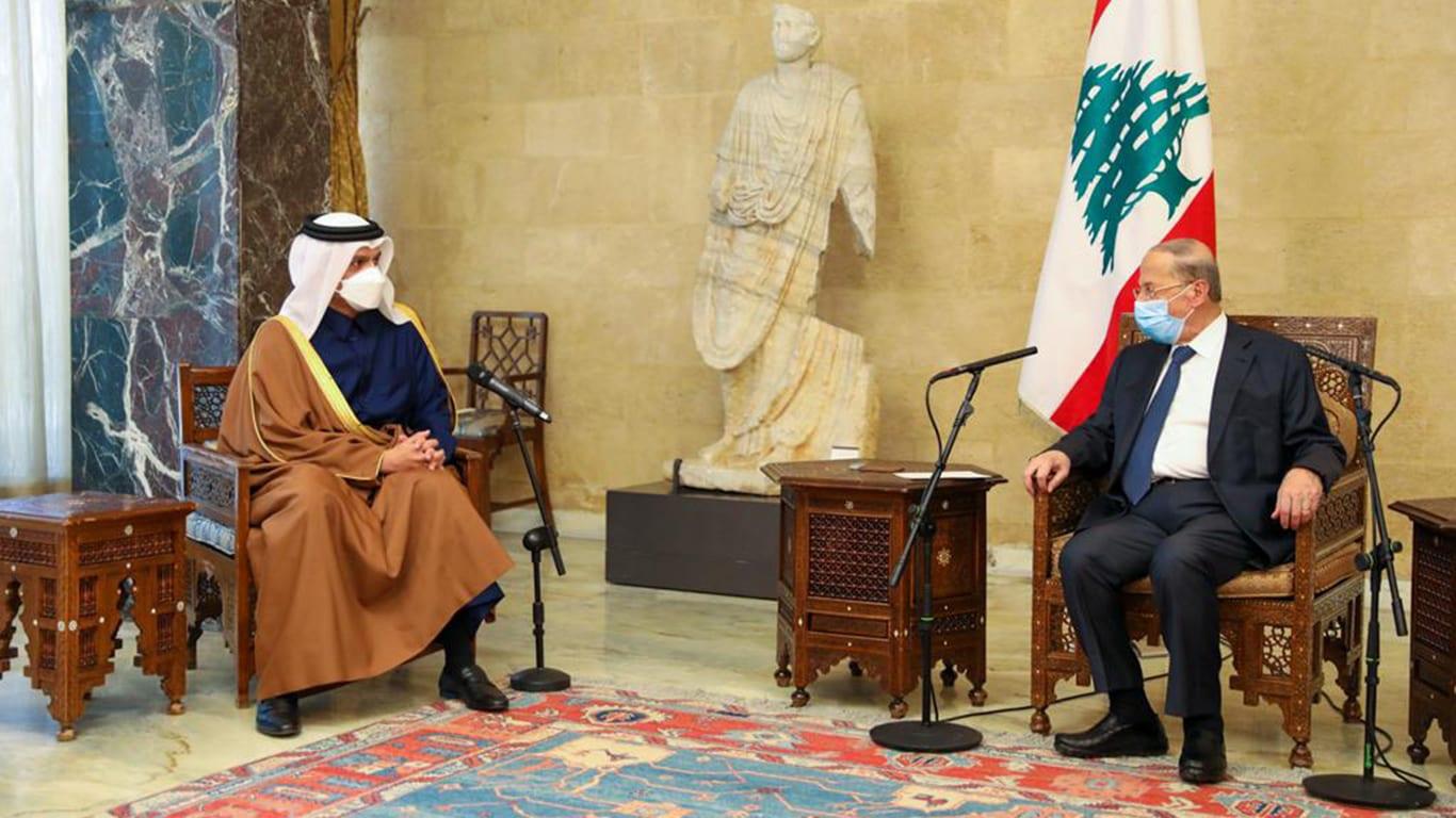 الرئيس اللبناني يستقبل وزير خارجية قطر