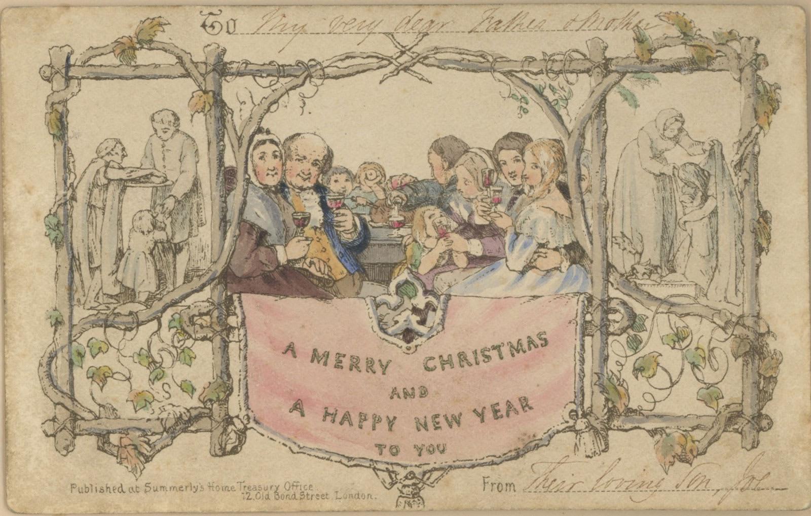 كيف بدت أول بطاقة معايدة مطبوعة لعيد الميلاد في العالم؟