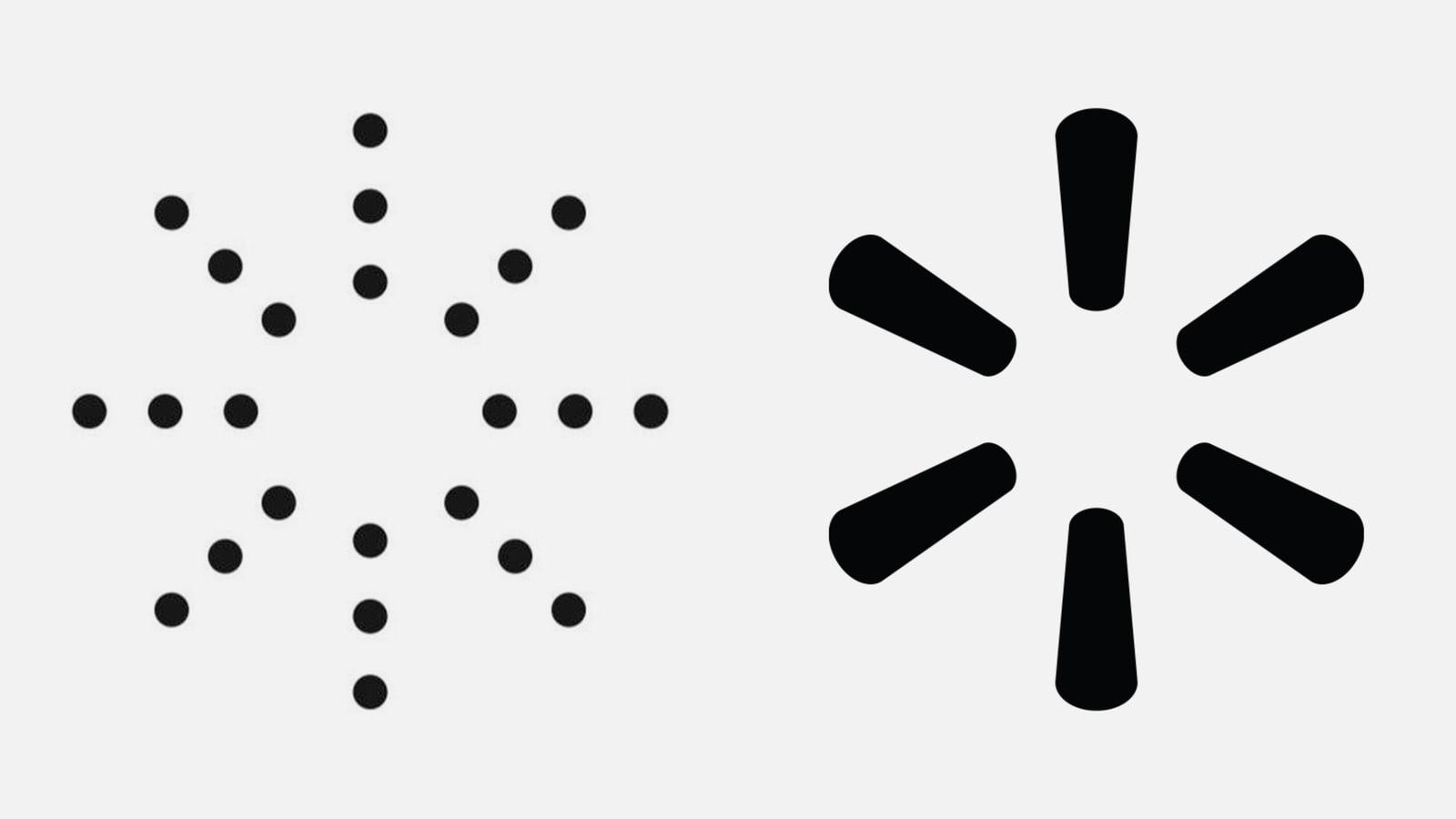 """صورة لشعار """"ييزي"""" على اليسار وشعار """"وولمارت"""" على اليمين"""