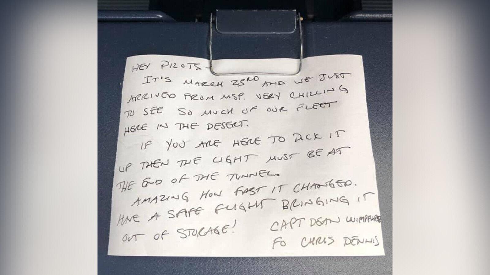 من عصر ما قبل الجائحة..العثور على رسالة طيار مخبأة على متن طائرة خارجة من المخزن