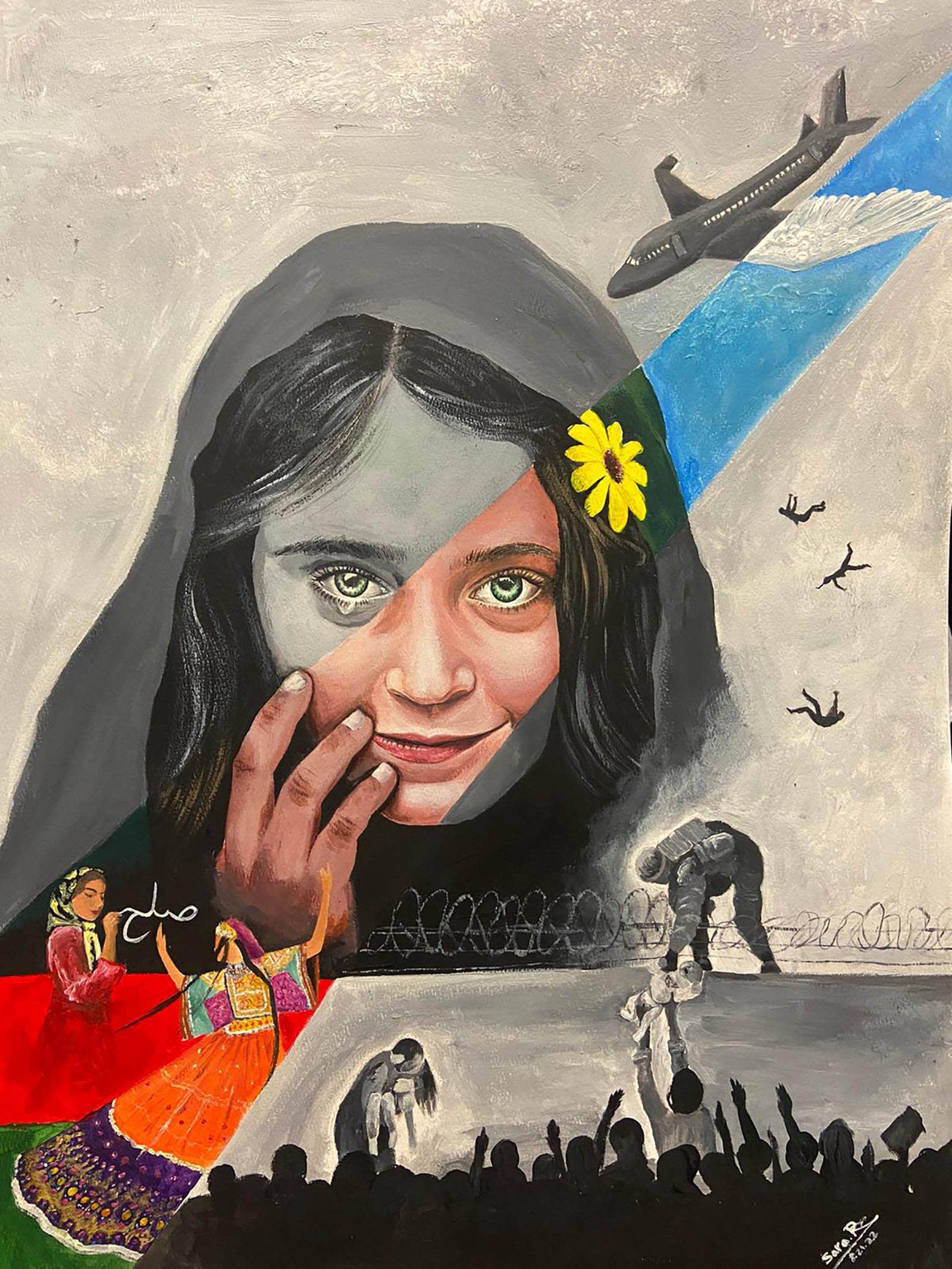 فنانة أفغانية شابة تخلد مشاهد مؤلمة عن سقوط وطنها في أيدي طالبان
