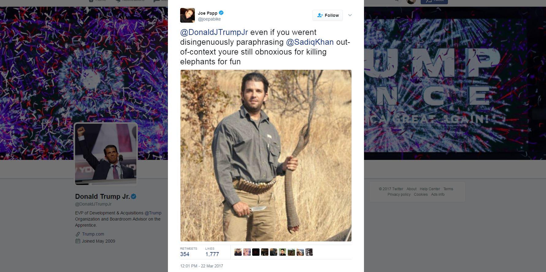 """""""قاتل حيوانات بغيض"""".. هكذا هاجم رواد تويتر نجل ترامب لسخريته من عمدة لندن المسلم"""