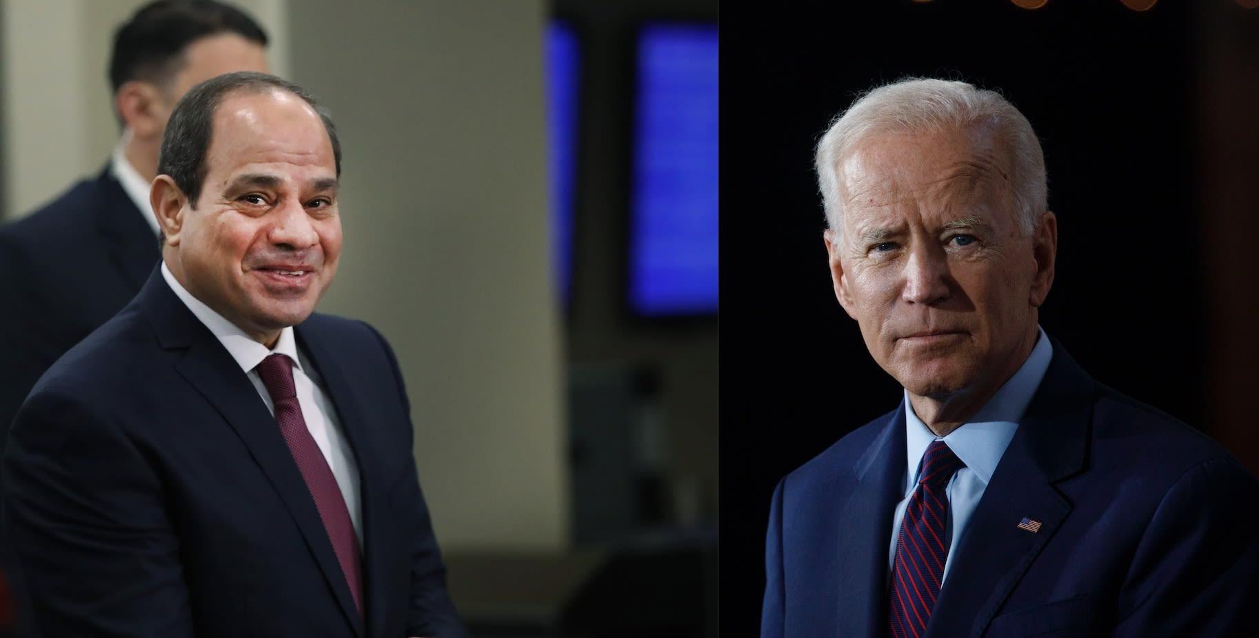 الرئيس الأمريكي جو بايدن من اليمين والرئيس المصري عبدالفتاح السيسي في اليسار