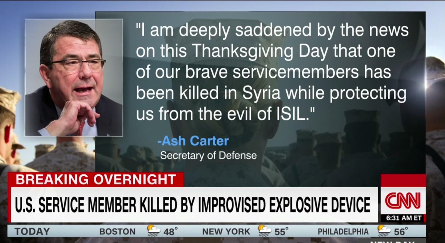 مقتل أول عنصر بالجيش الأمريكي في سوريا