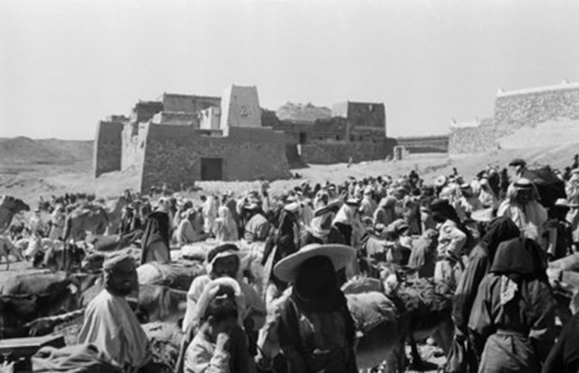 صورة تظهر سوق أبها في عام 1945