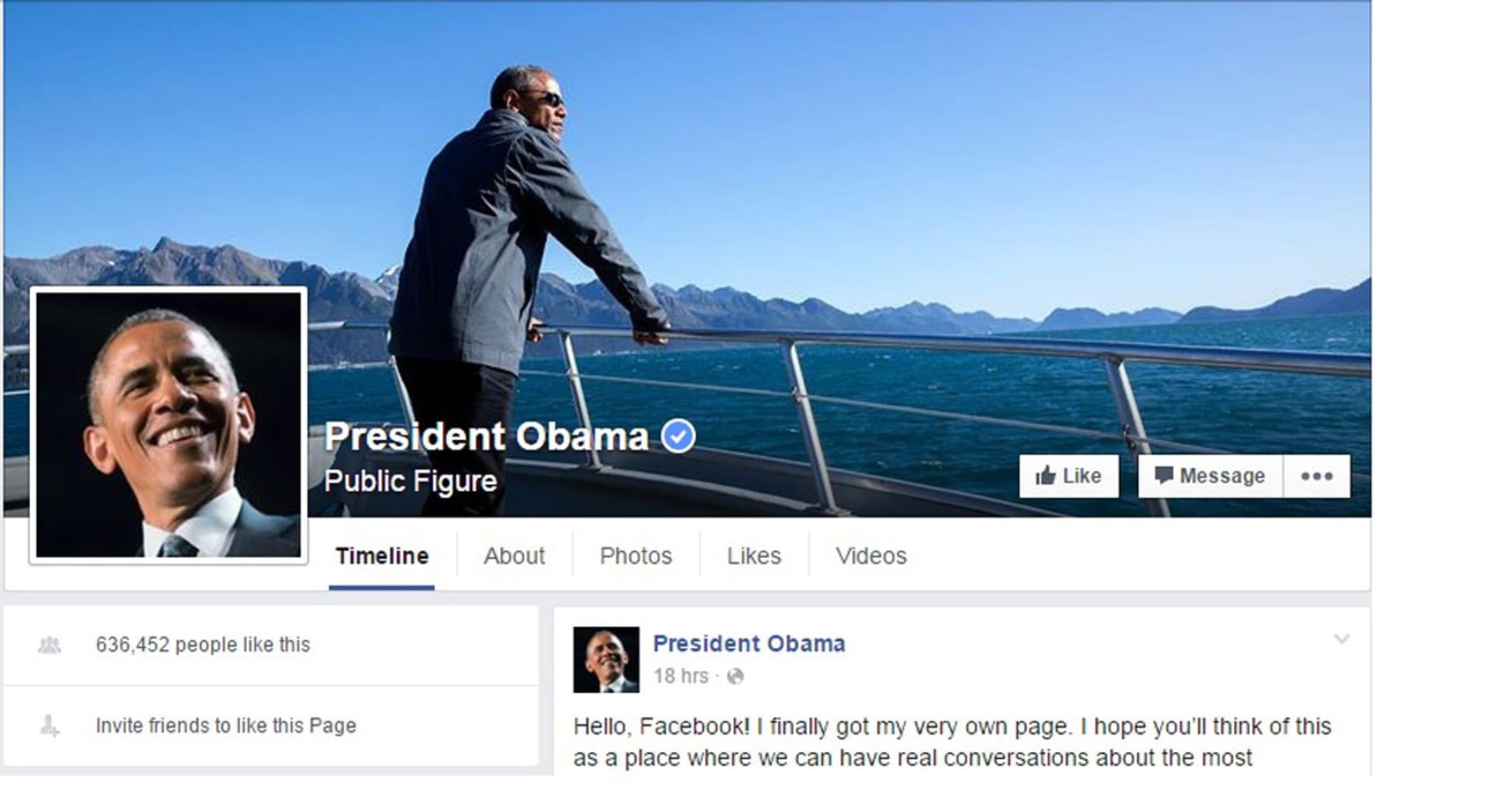 """باراك أوباما يطلق صفحته الخاصة على """"فيسبوك"""".. كيف استقبله مؤسس الموقع؟"""