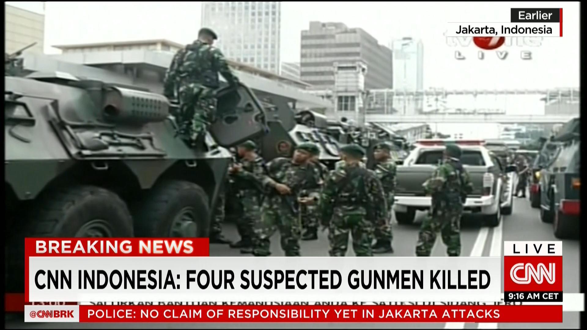 تقارير: ارتفاع أعداد القتلى جراء الهجمات في جاكرتا إلى 6 بينهم أجنبي والشرطة تقتل 4 مهاجمين