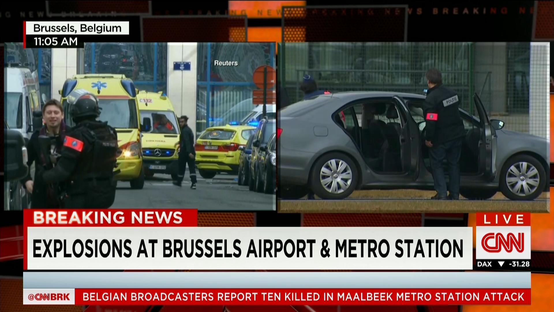 """بلجيكا: ارتقاء عدد قتلى تفجيرات بروكسل إلى 34 على الأقل ومكتب المدعي العام: تفجيرات المطار كانت """"هجوما انتحاريا"""""""