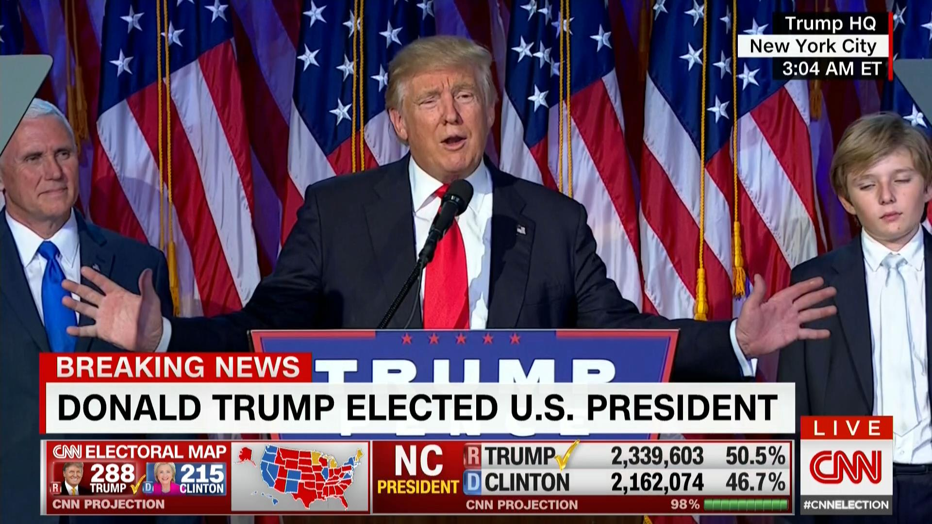 ترامب في خطاب النصر: سأكون رئيسا لكل الأمريكيين وحان الوقت للوحدة ومعالجة الجراح
