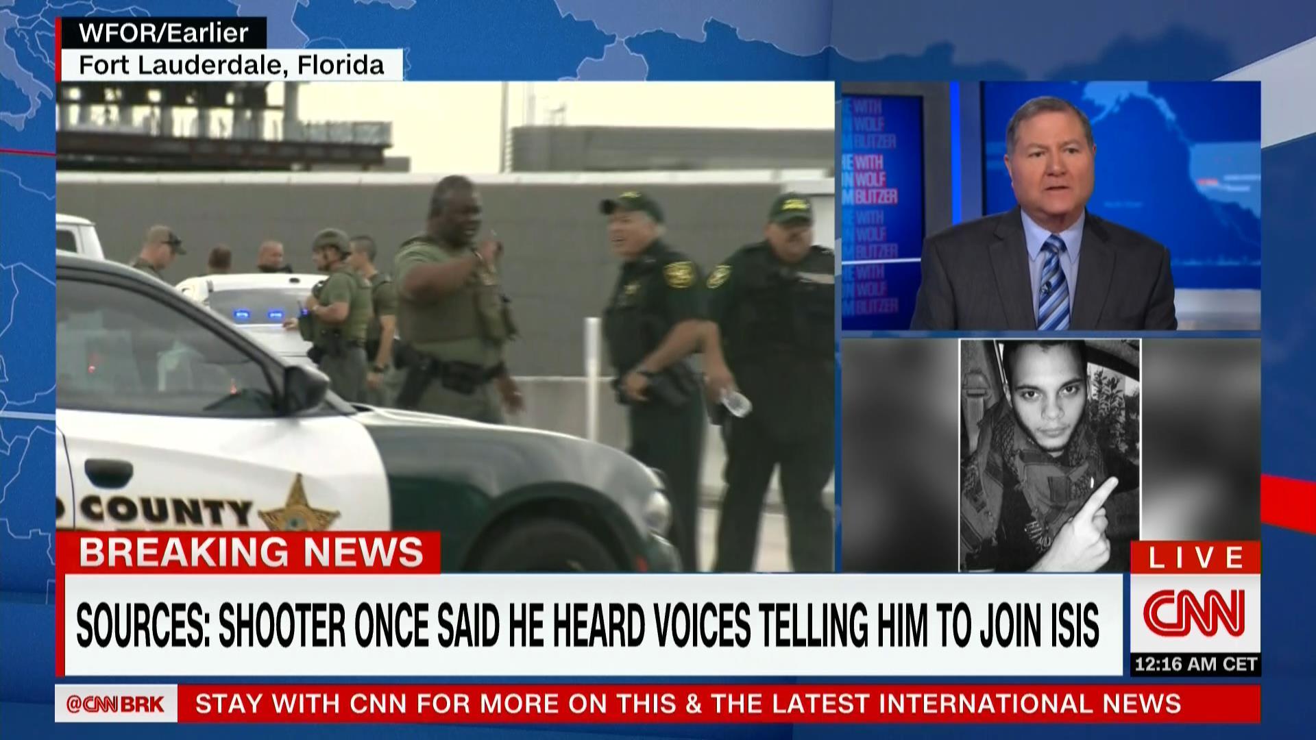 """مسؤولون لـCNN: المشتبه به في إطلاق النار بمطار """"فورت لودرديل"""" أخبر FBI أن """"أصواتاً برأسه حثته على الانضمام لداعش"""""""