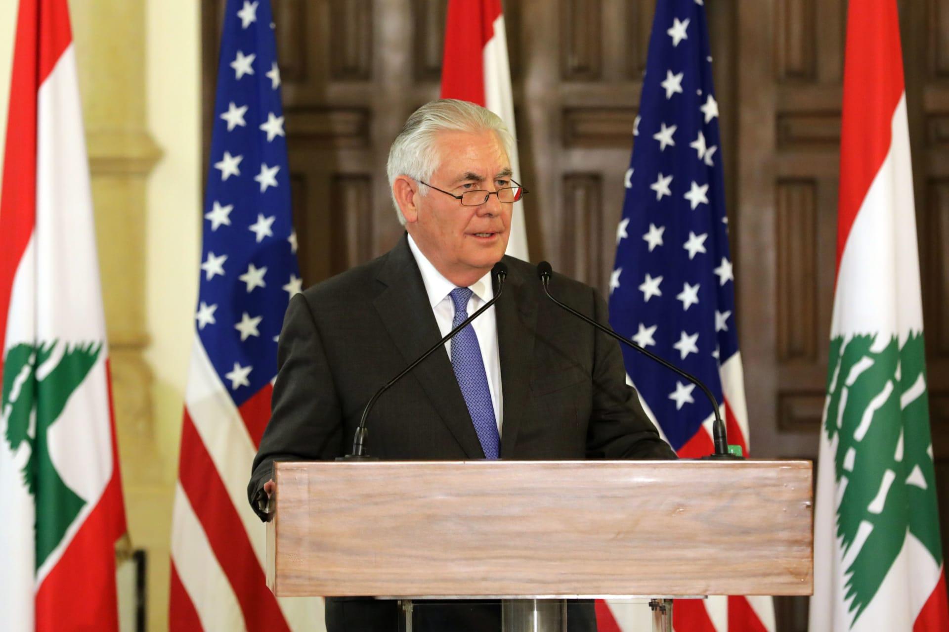 """تيلرسون يحث حزب الله على """"الانسحاب والتوقف عن كافة نشاطاته بالمنطقة"""""""