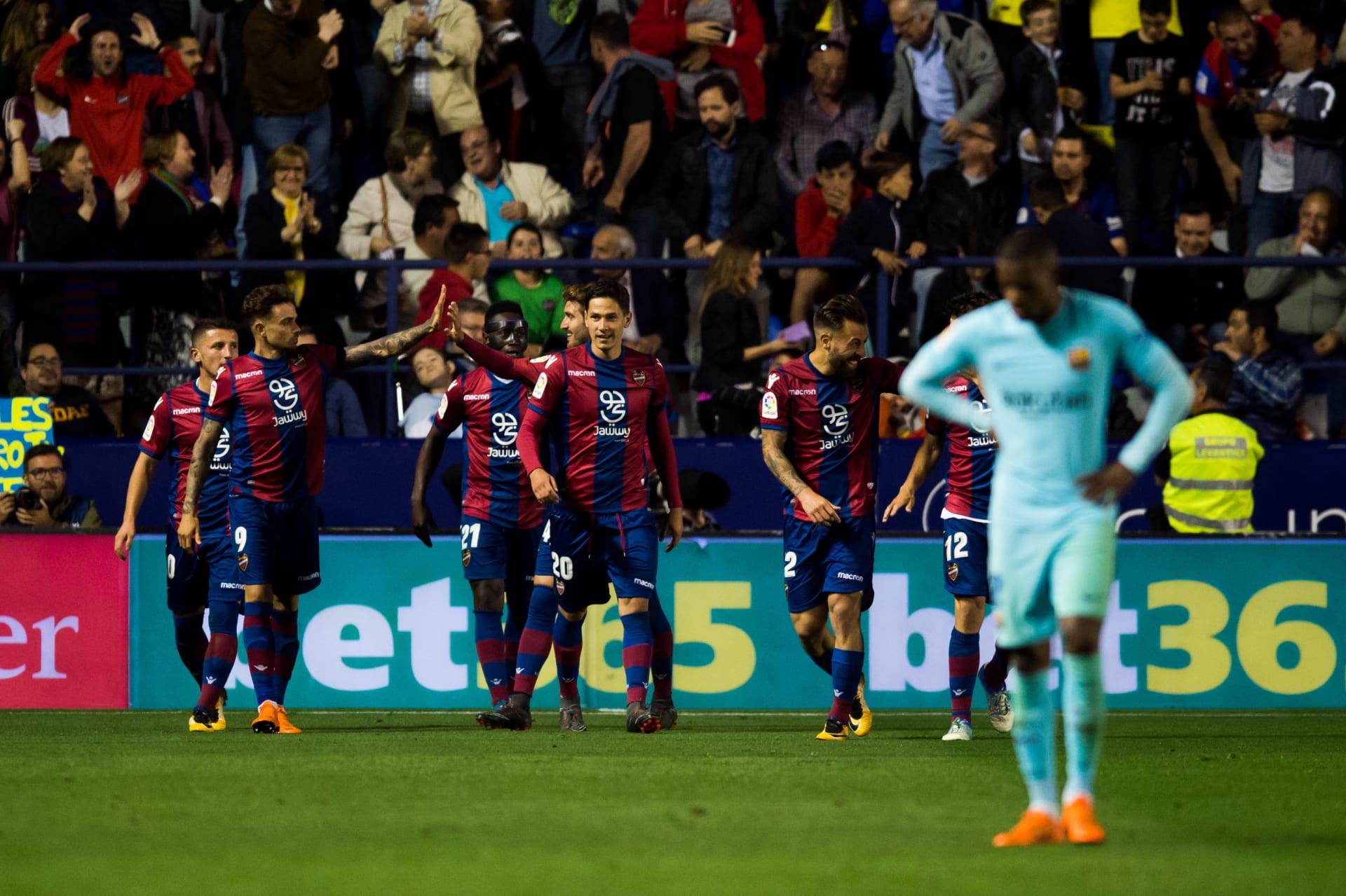 في ليلة تاريخية.. ليفانتي يفسد طموحات برشلونة بخمسة أهداف