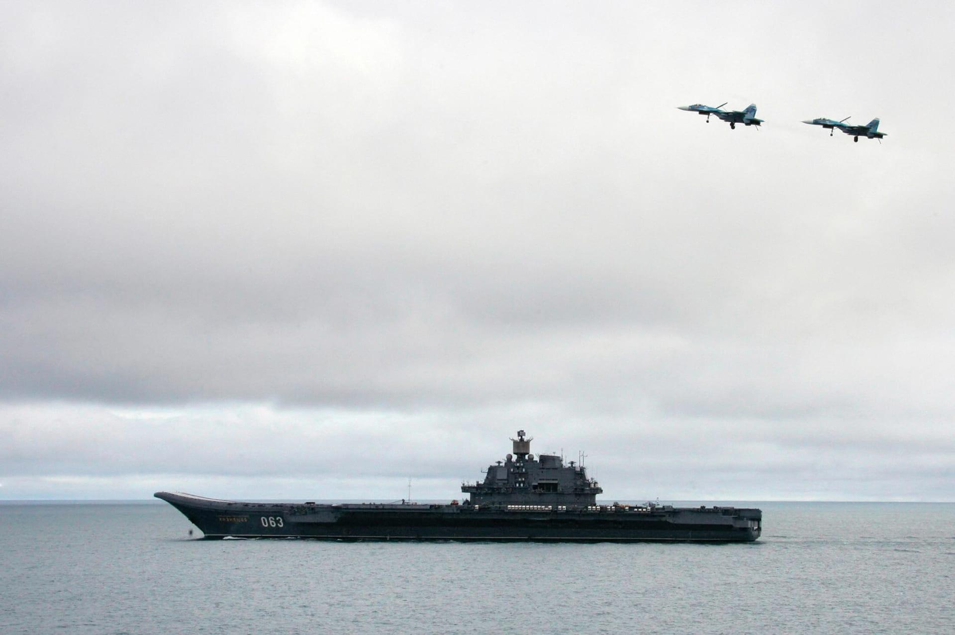 تضرر حاملة الطائرات الروسية الوحيدة أثناء صيانتها