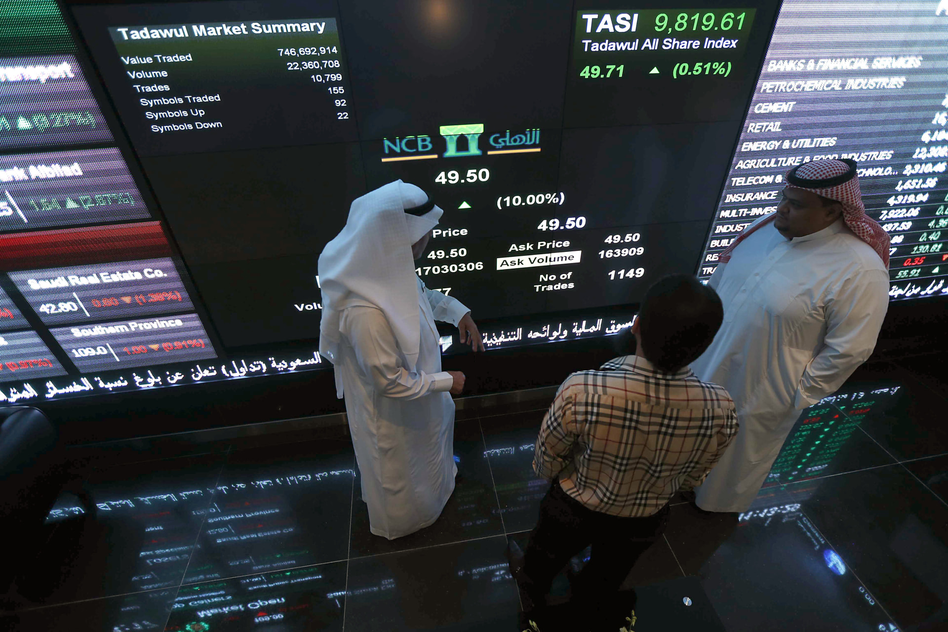 الأسهم السعودية تتكبد 9.6 مليار دولار خسائر في أولى جلسات الأسبوع