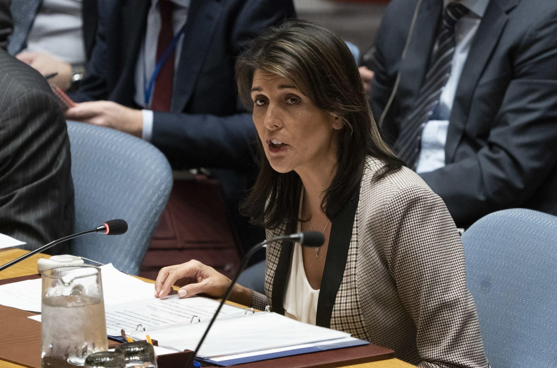 نيكي هايلي تطرق لخطة السلام التي تعدها إدارة ترامب للشرق الأوسط