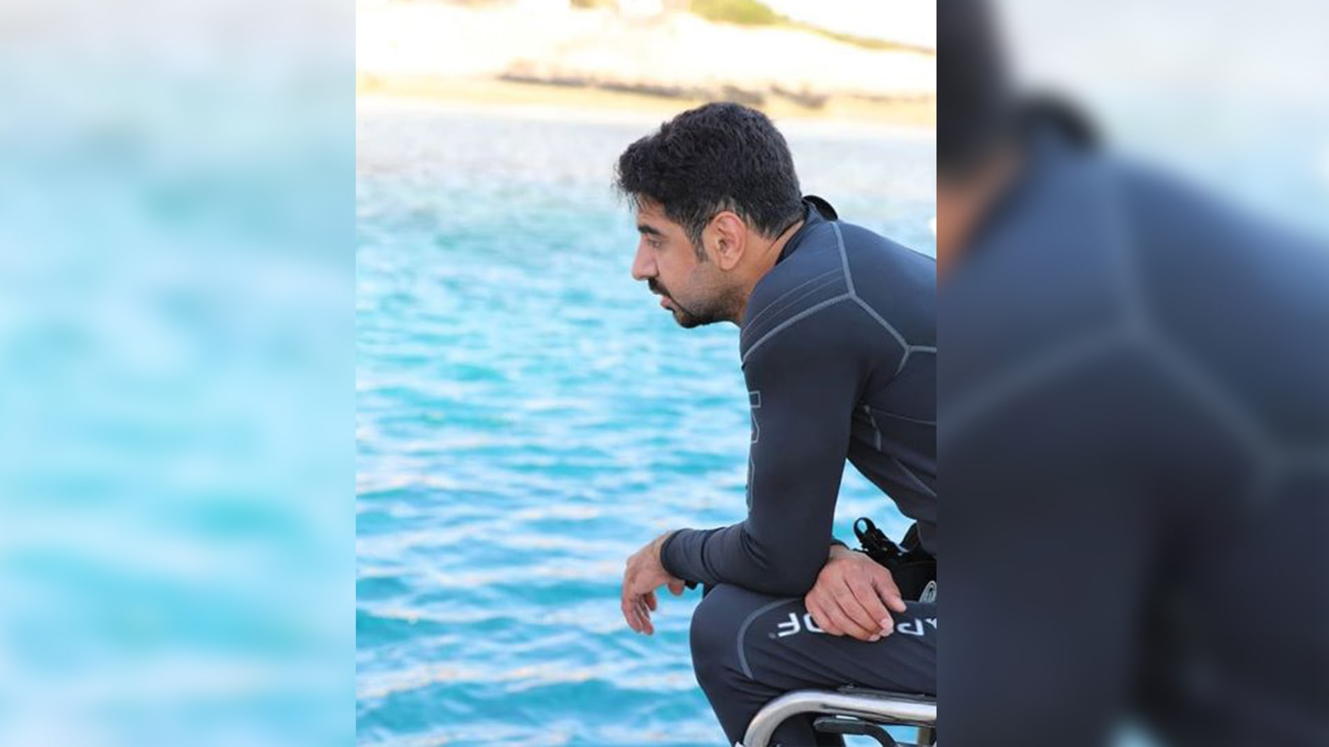"""ما """"القفص"""" الذي تحرر منه هذا الشاب الكويتي بعد دخول البحر؟"""