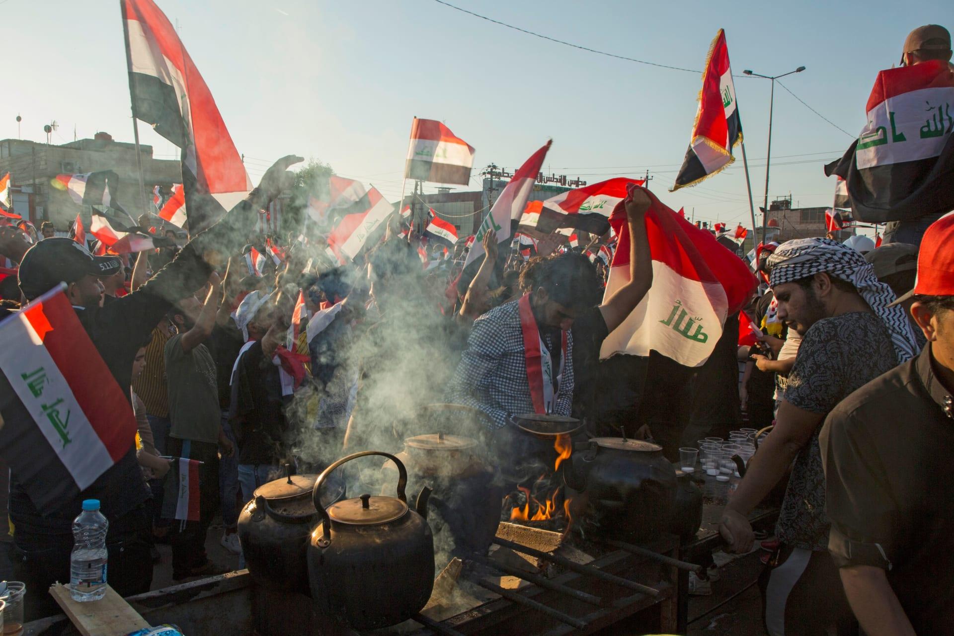 بالصور.. أضخم المظاهرات في بغداد منذ بدء الاحتجاجات