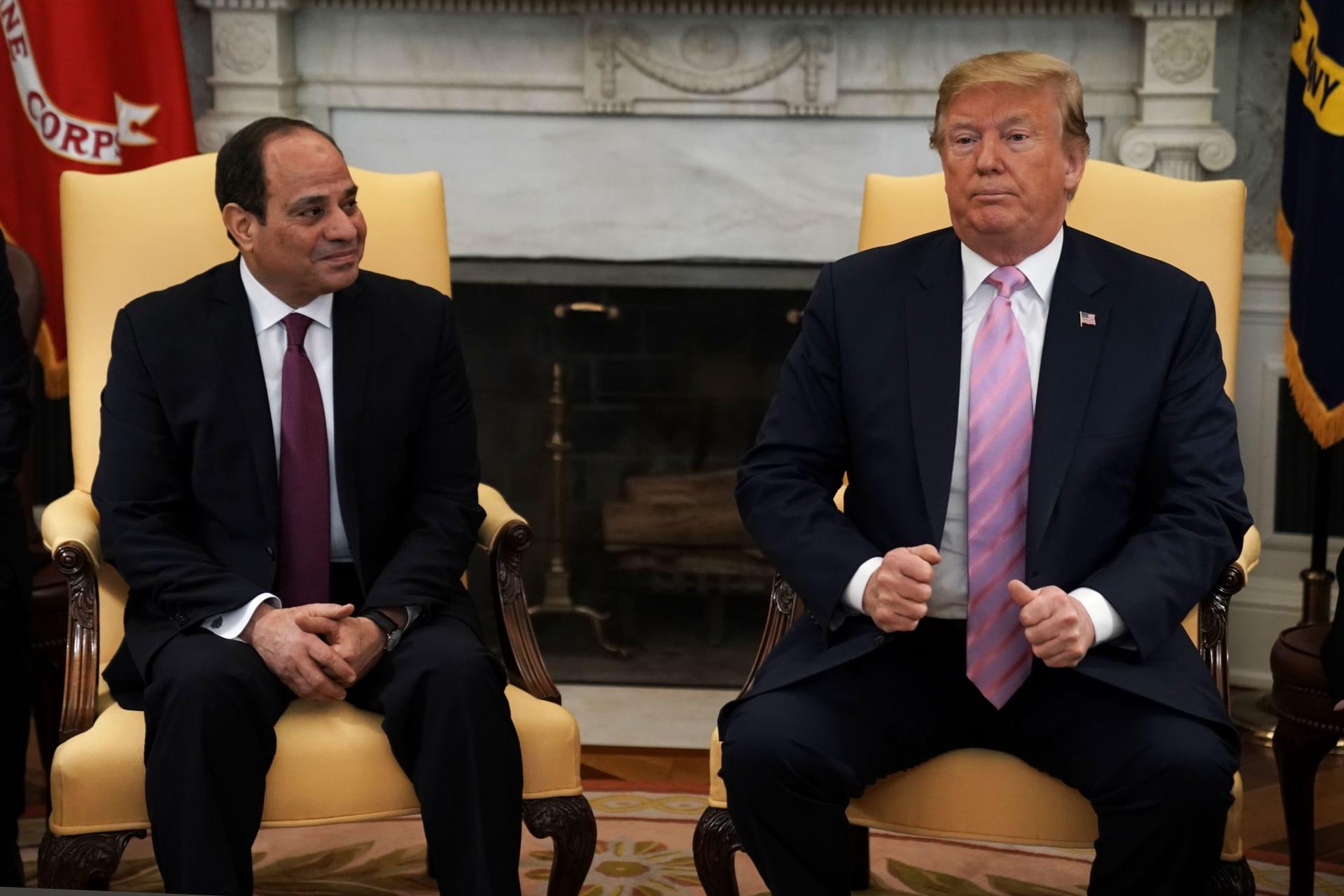 صورة أرشيفية من لقاء بين ترامب والسيسي بالبيت الأبيض في 9 أبريل 2019