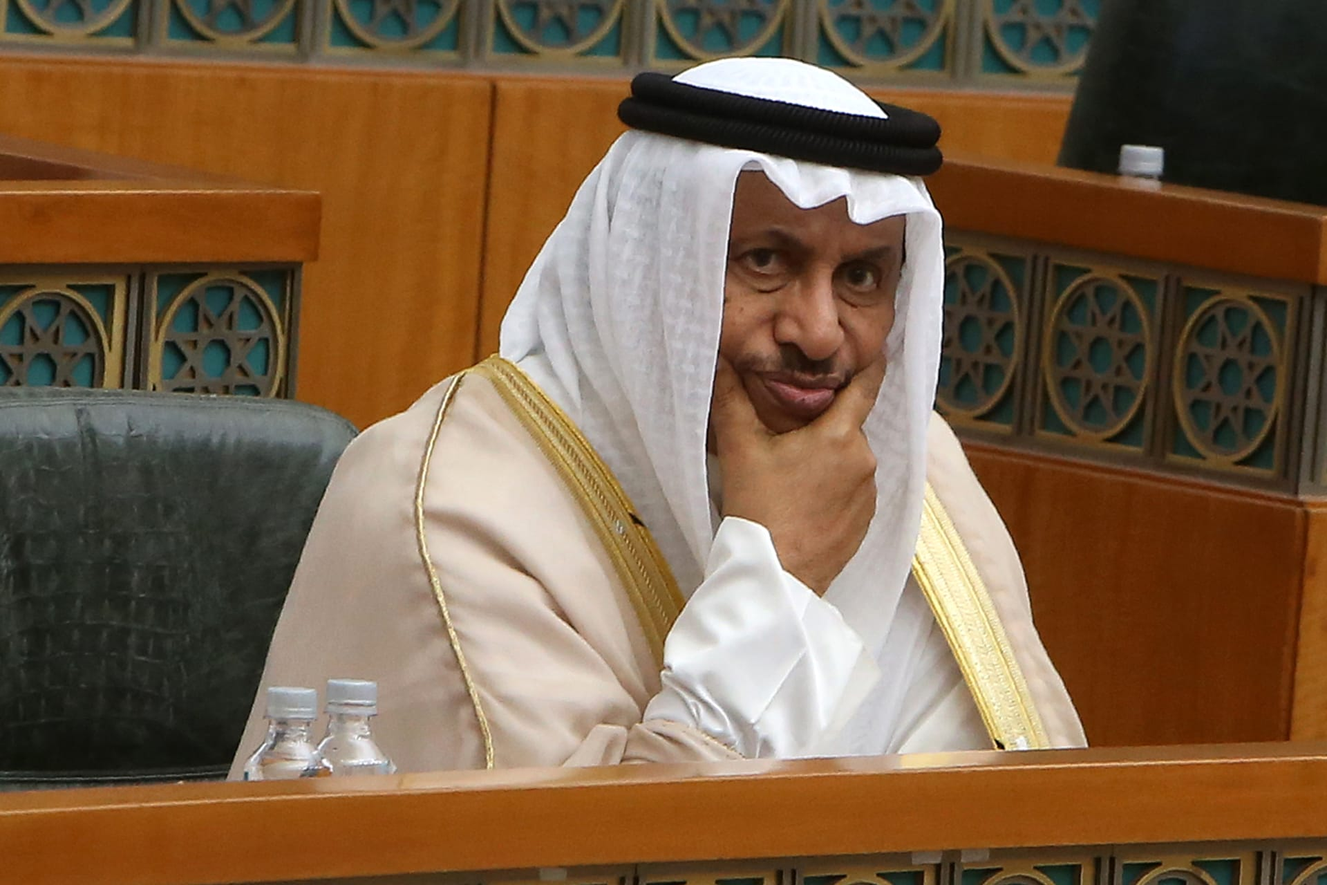 صورة أرشيفية لرئيس وزراء الكويت جابر المبارك داخل البرلمان في 3 يوليو 2019