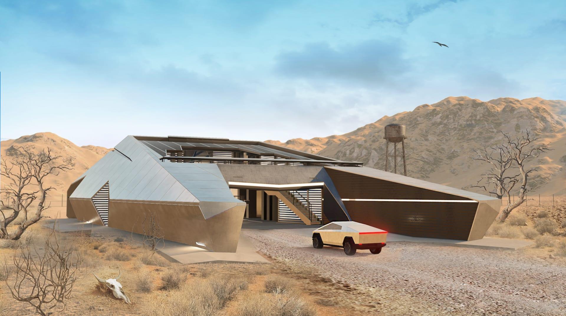 تصميم منزل مستوحى من شاحنة تسلا المصفحة