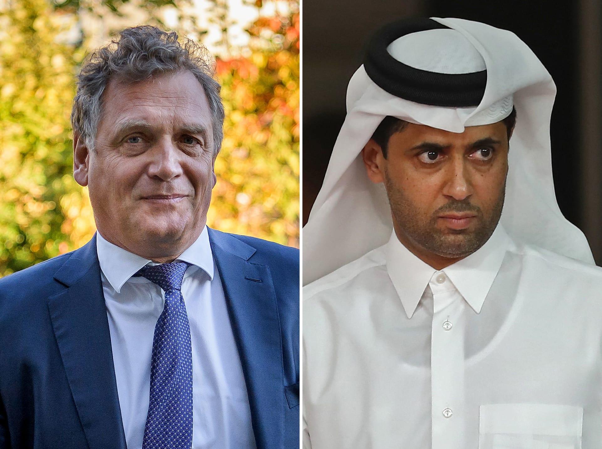 ناصر الخليفي رئيس نادي باريس جان جيرمان وجيروم فالكه الأمين العام السابق بالفيفا
