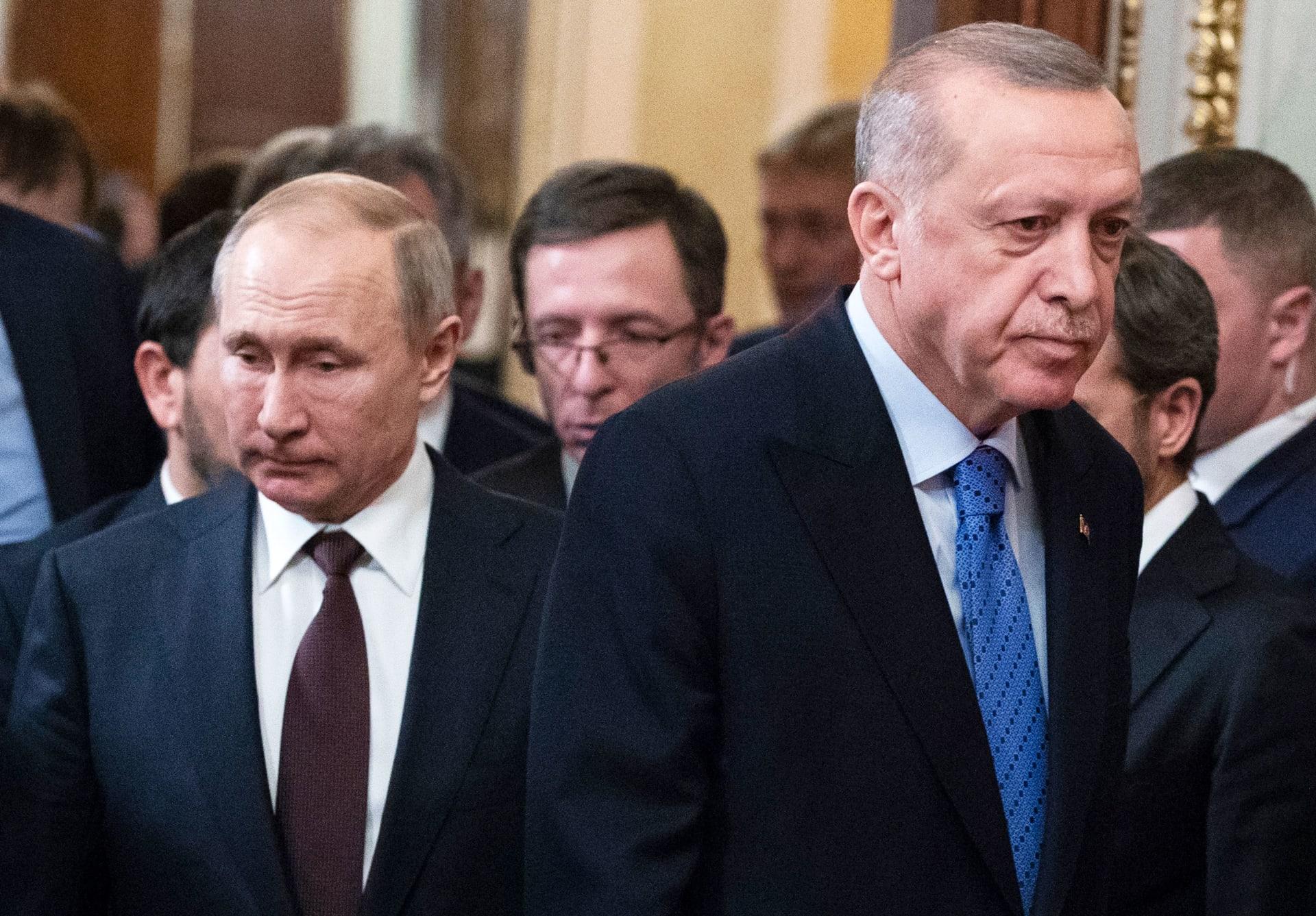 بوتين وأردوغان قبيل إعلان اتفاق وقف إطلاق النار بإدلب في 5 مارس/ آذار
