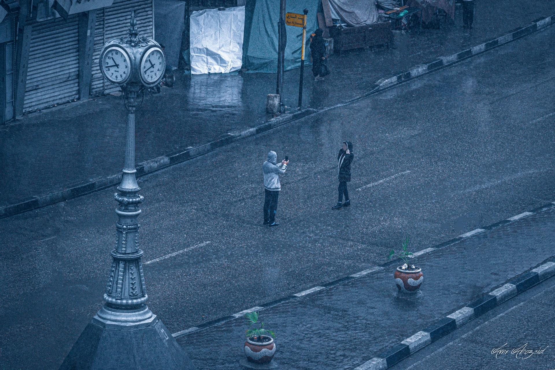 مشاهد خلال عاصفة التنين بالقاهرة