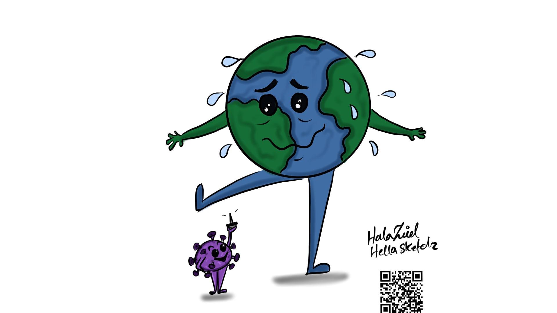 أوقف العالم بأسره على ساق واحده.. هكذا جسدت رسامة عراقية فيروس كورونا