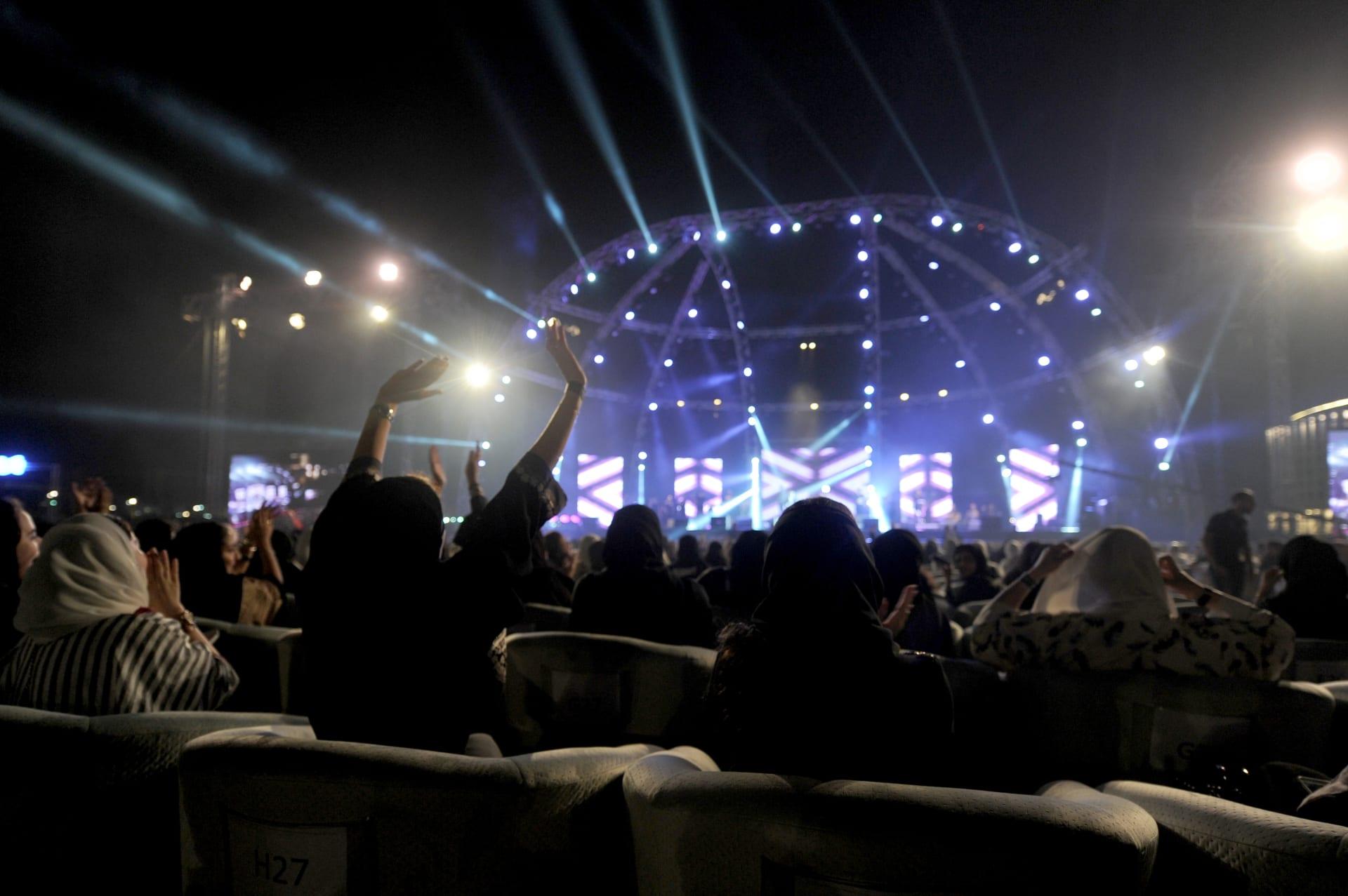 صورة من حفلة المغني المصري، تامر حسني، في المنطقة الغربية من مدينة جدة، يوم 30 مارس/ آذار 2018.