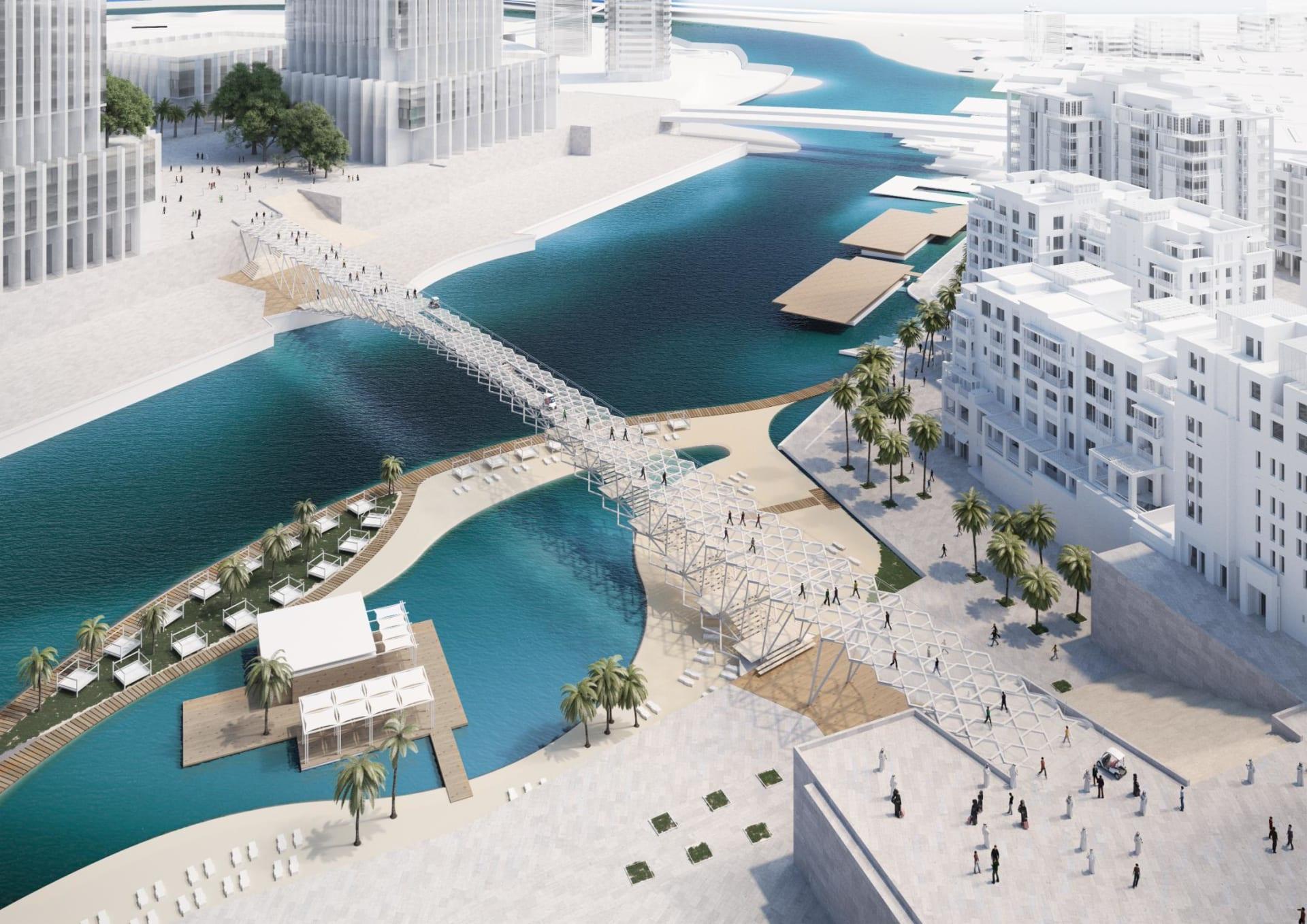يصل إلى أطول برج في العالم..الكشف عن جسر للمشاة كأحدث أعمال مشروع خور دبي العملاق