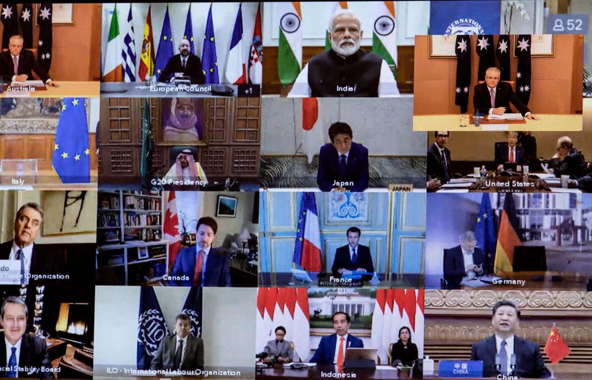 صورة من اجتماع قادة مجموعة العشرين الافتراضي لمواجهة أزمة انتشار فيروس كورونا