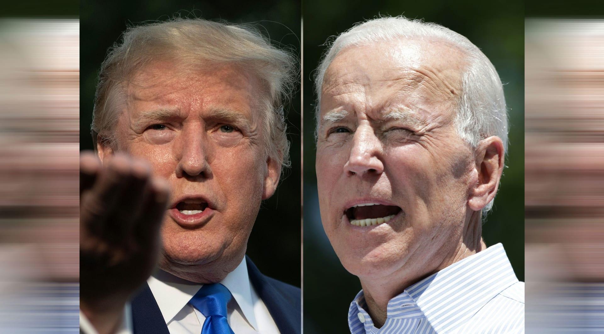 المرشح جو بايدن (يمين) والرئيس دونالد ترامب (يسار)