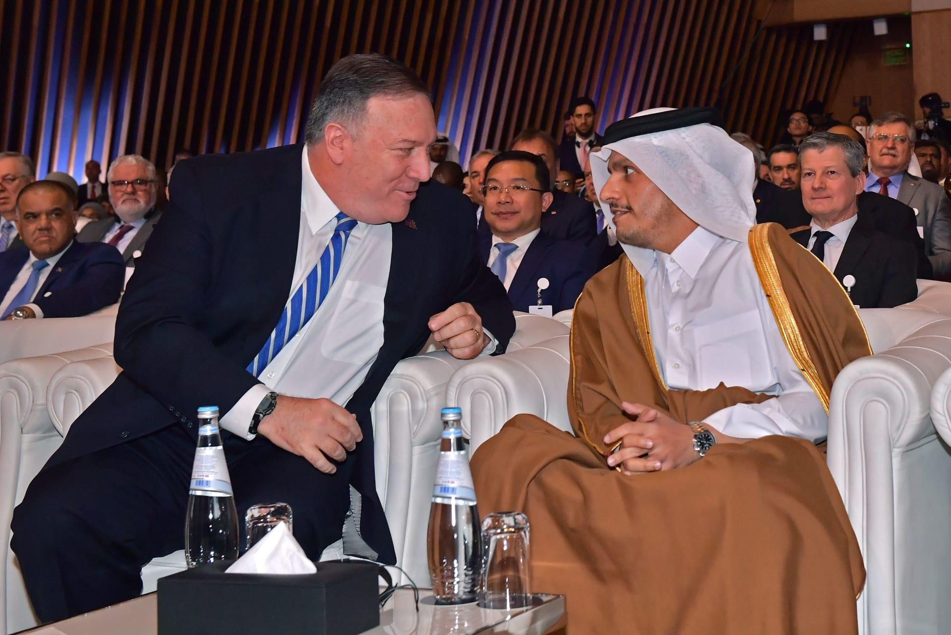 صورة أرشيفية لومبيو مع وزير خارجية قطر في فبراير 2020