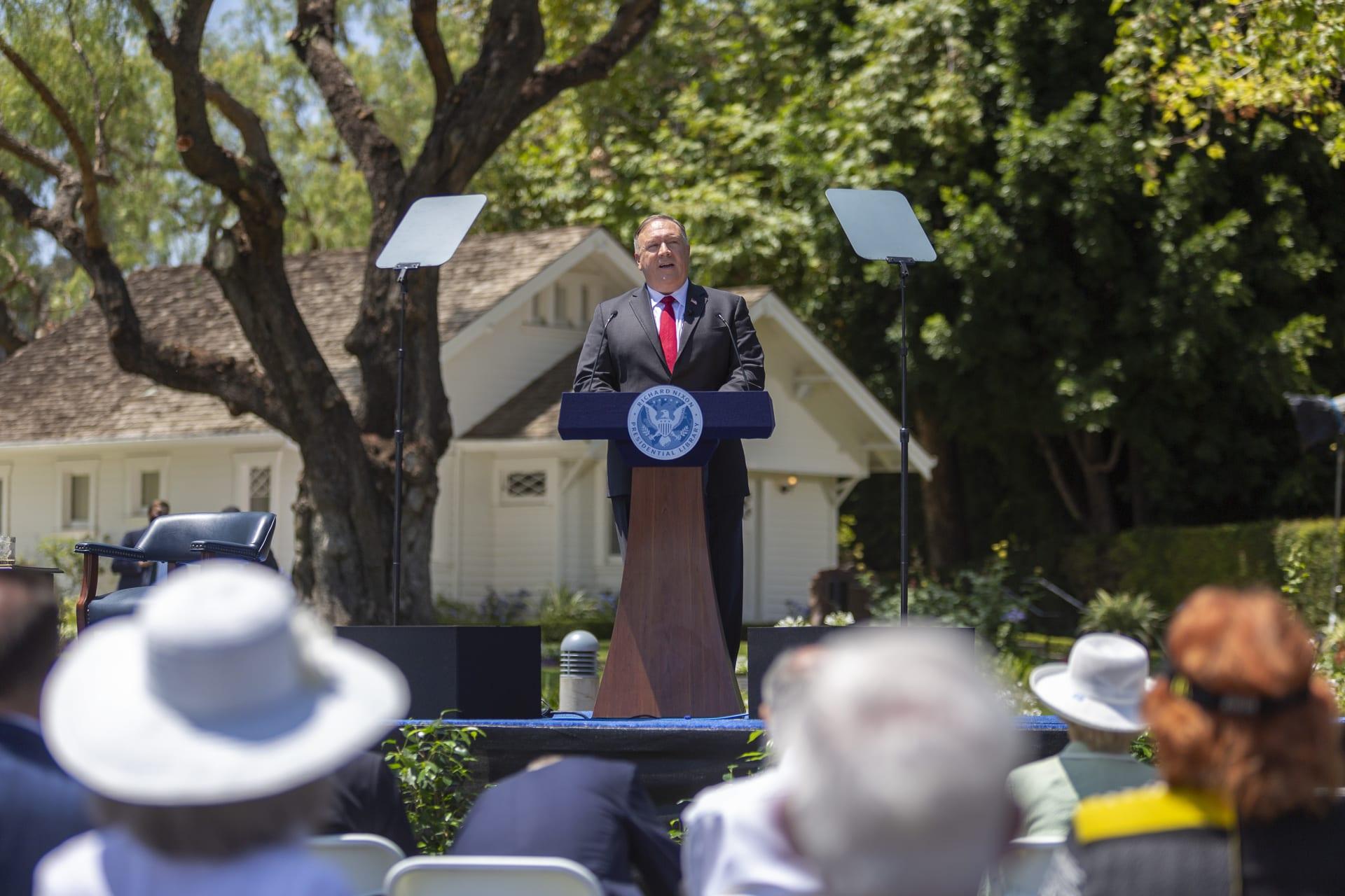 وزير الخارجية الأمريكي مايك بومبيو يلقي كلمة في مركز نيكسون حول الصين