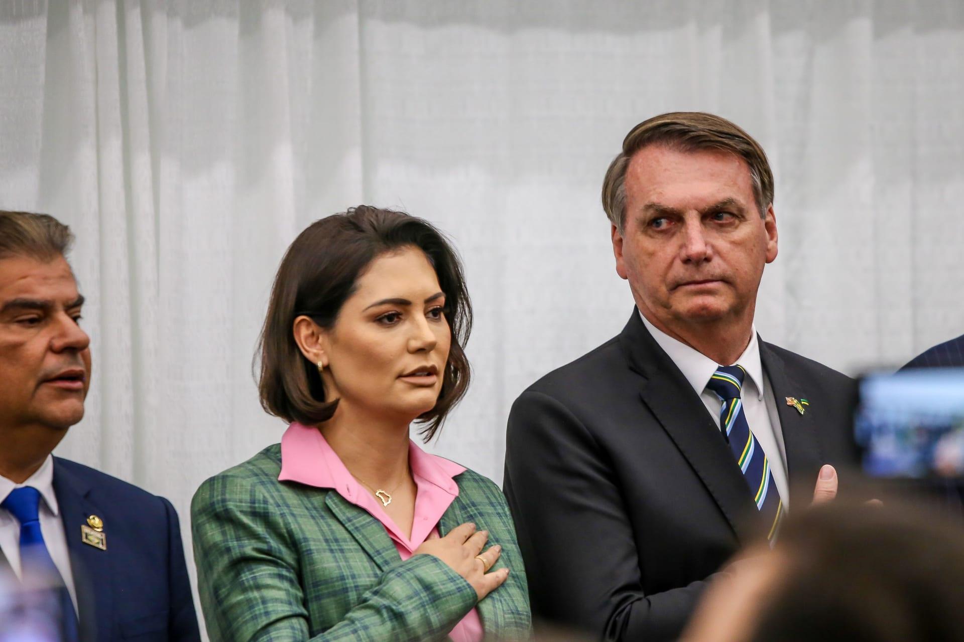 الرئيس البرازيلي جائير بولسونارو وزوجته ميشيل
