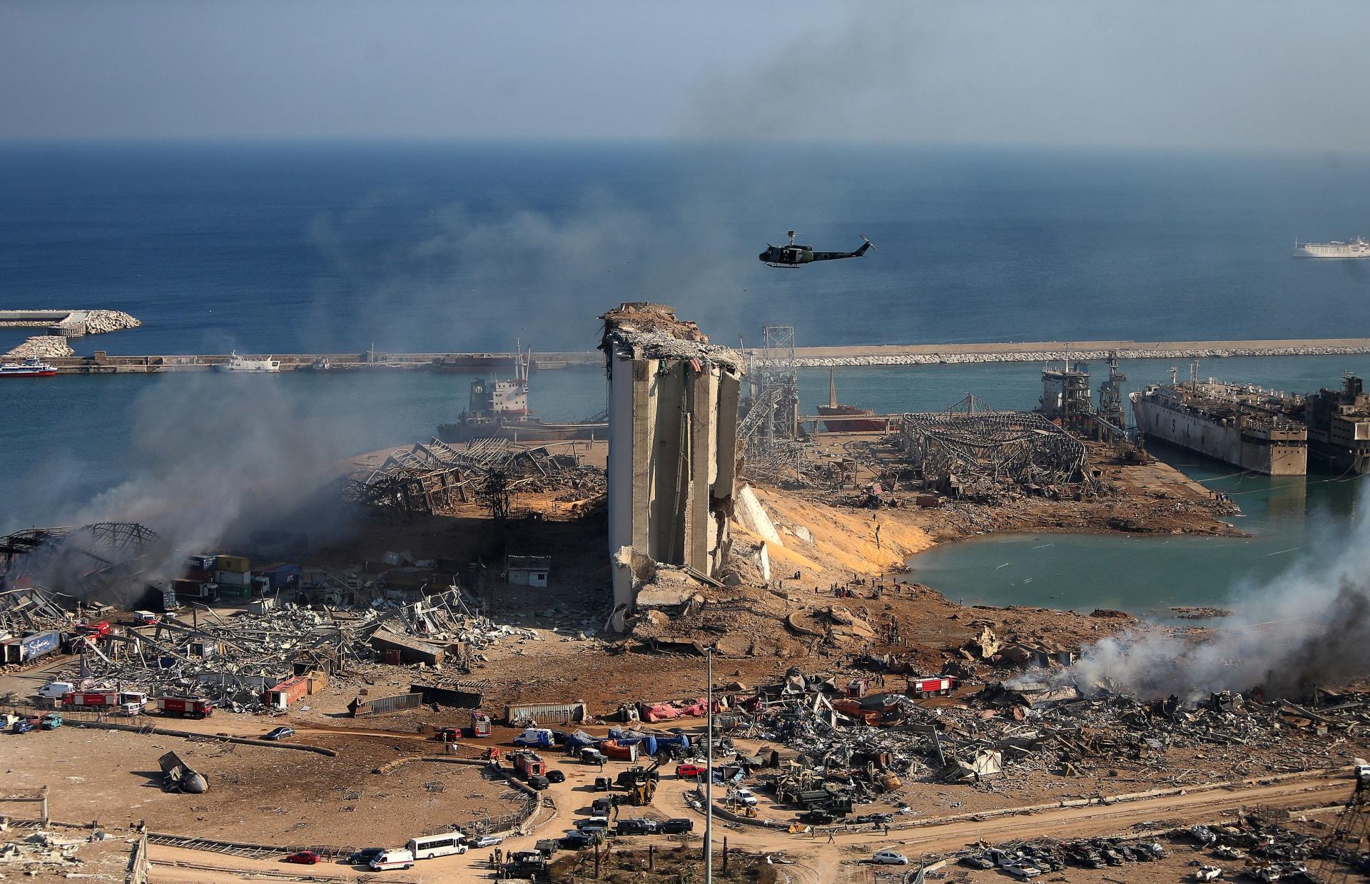 آثار التفجير الضخم في مرفأ بيروت