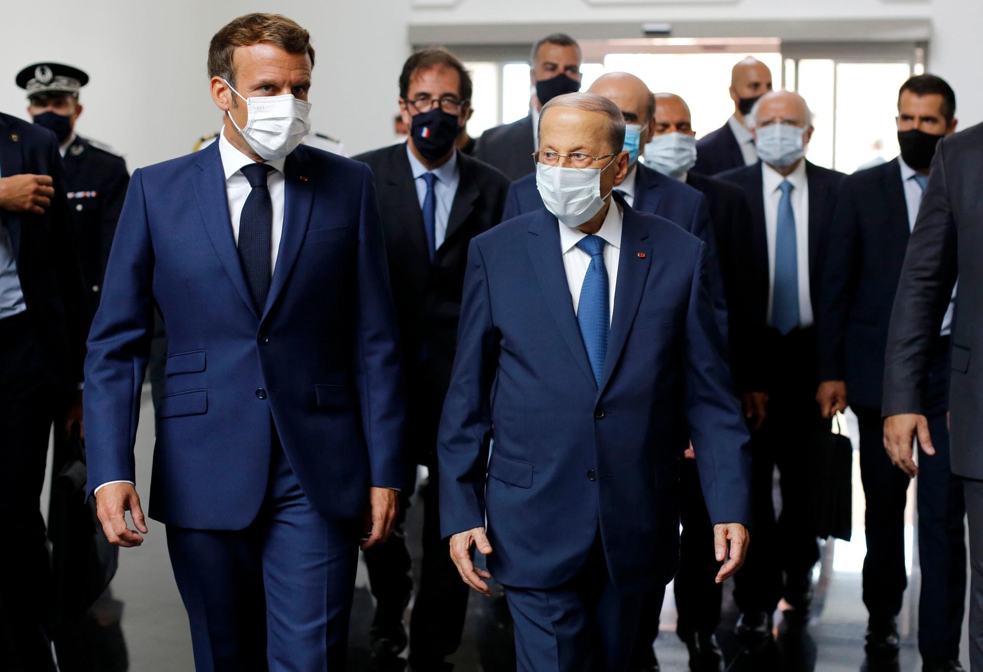 الرئيس اللبناني ميشال عون ونظيره الفرنسي إيمانويل ماكرون