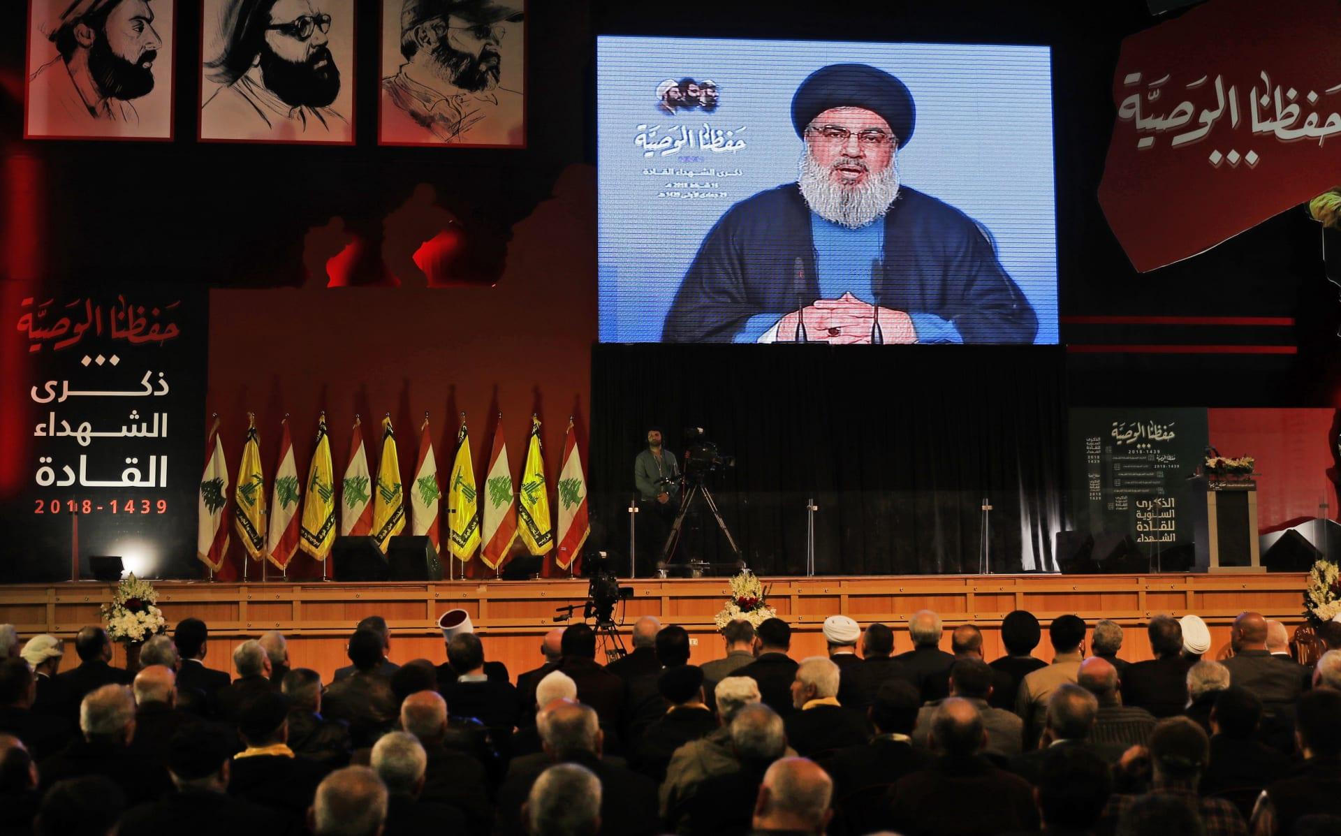 الأمين العام لحزب الله اللبناني في كلمة متلفزة أمام حشد من أنصاره